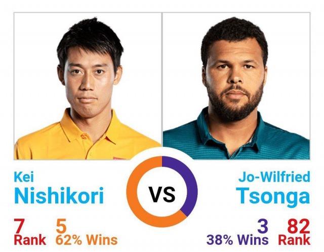 錦織圭 vs ジョー=ウィルフリード・ツォンガ|過去対戦成績