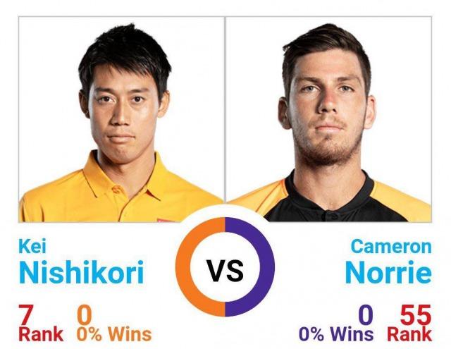錦織圭 vs キャメロン・ノーリー|過去対戦成績